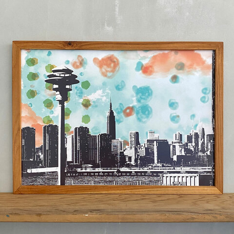 ポスターアート A3 ニューヨーク Ambivalent no.8 街灯 エンパイアステートビル + 古材 ポスターフレーム