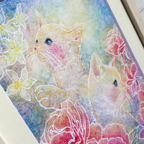 アートポスター/アロマなアート*猫とローズの香り