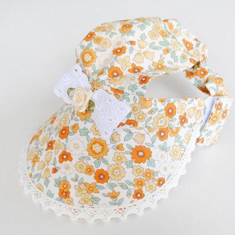 【Lサイズ】犬の帽子*cottonオレンジフラワーレース