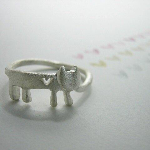ハートをさがすステネコちゃん ( 猫 ねこ ネコ 指輪 リング シルバー 925 刻印 文字入れ 名入れ ギフト )