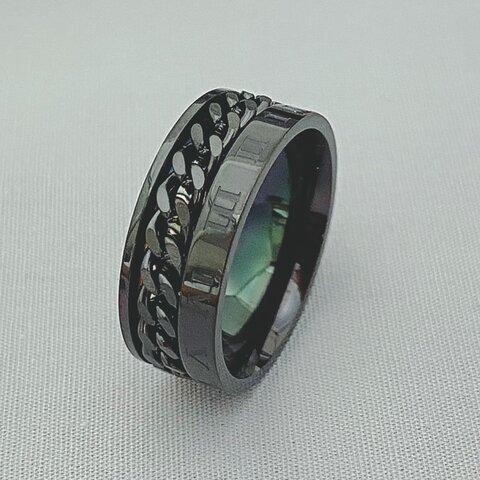 サージカルステンレス ステンレスリング 指輪 ローマ字喜平 メンズリング 金属アレルギー対応