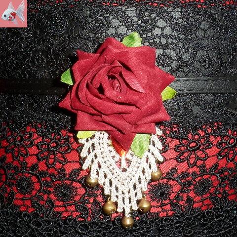 ◆バラのとレースの帯留め飾り①