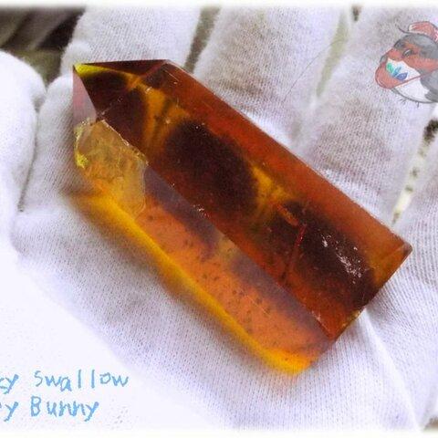 📜 人工黄水晶(きすいしょう)シトリンポイント 氷柱 原石 断面 標本 ルース素材にも♪No.3437