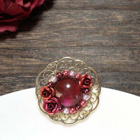 赤系の薔薇のポニーフック