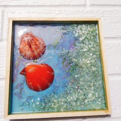 貝と浜辺(貝の色赤、紫)