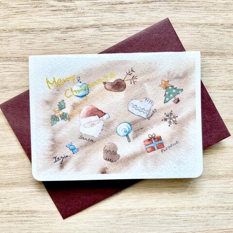 🎄透明水彩画「ブラウンクリスマス」北欧イラスト クリスマスミニカード  2枚セット サンタクロース トナカイ クリスマスカード クリスマスギフト クリスマス🎄
