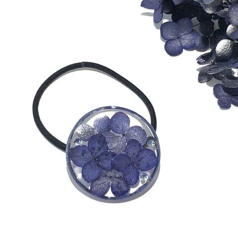 【再販】ネイビーカラーの紫陽花のヘアゴム
