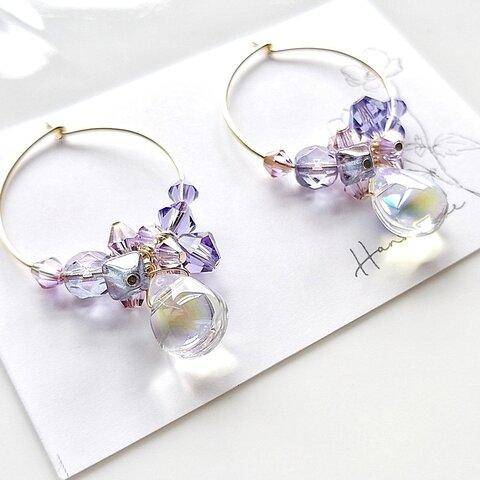 紫陽花と雨粒のキラキラフープピアス✨ステンレスフープ/