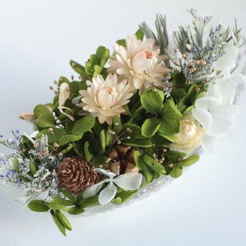 お花がいっぱい 大人っぽい シャビーなグリーン アロマストーン