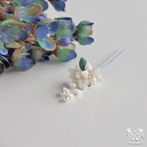 白百合✤かんざし  人形 つまみ細工 髪飾り ドール リカちゃん オビツ11 1/6ドール
