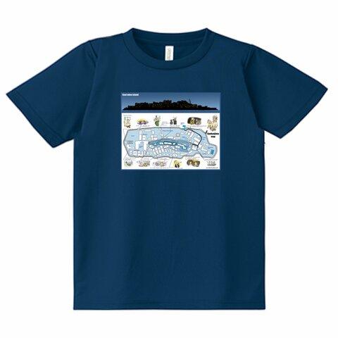 軍艦島の地図と生活  ドライ Tシャツ  インディゴ