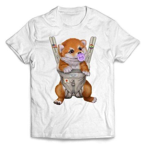半袖Tシャツ 赤毛 柴犬 いぬ 犬 抱っこ 抱っこ紐 おしゃぶり by FOX REPUBLIC