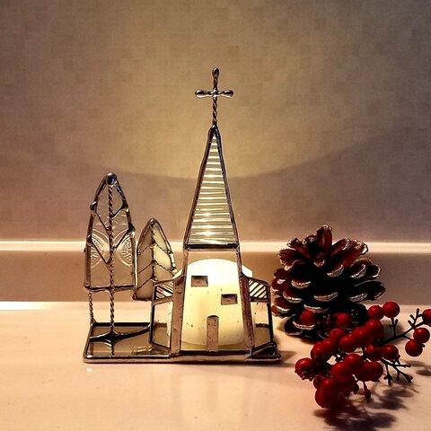 のっぽな教会*+オブジェ*+キャンドルホルダー+*ステンドグラス