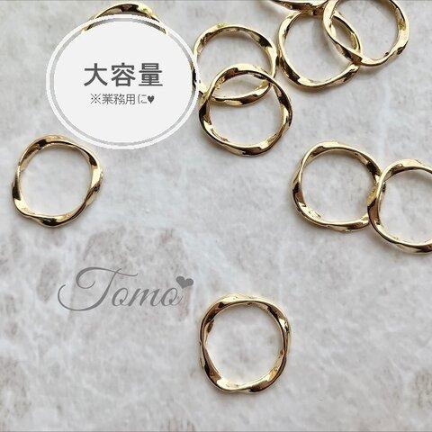 ◆大容量◆【約100個】16mm  ゴールド  ねじれサークル  ラウンド型パーツ♡ #60001