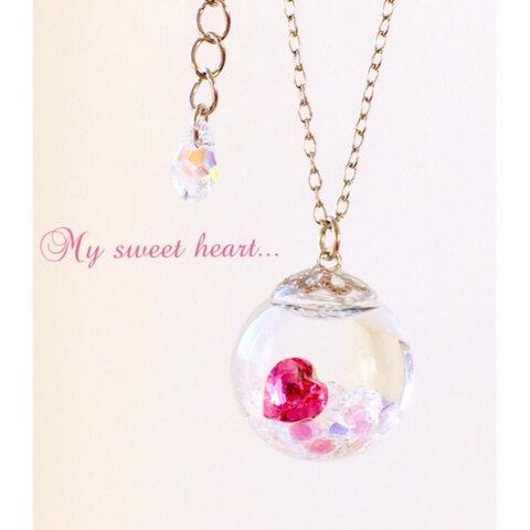 ♡My sweet  heart♡*スノードーム  *スワロフスキー・ルビーハートネックレス♡