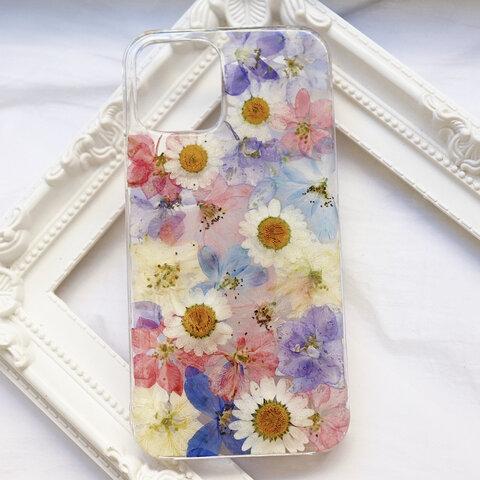 押し花iPhoneケース 押し花ケース 押し花スマホケース 押し花