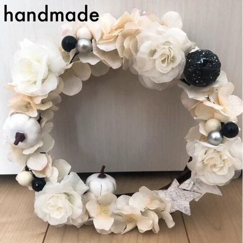 【handmade】フラワーリース/モノトーン ハロウィン