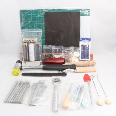 レザークラフト DIY入門 工具 豪華42点セット 皮 道具 スターターキット A49