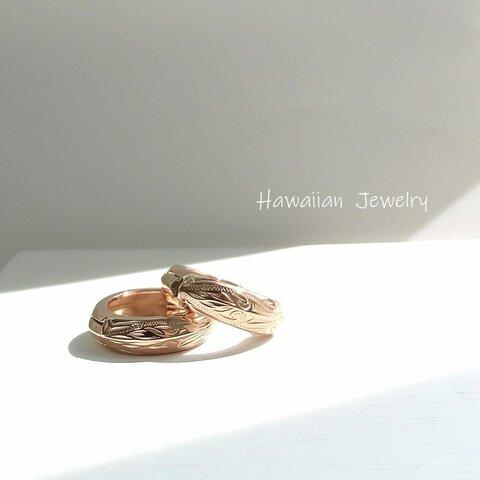 ~波の煌めき~ Hawaiian Jewelry stainless316L フープピアス 16㎜ アンティーク ピンク〈1ペア価格〉