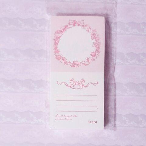 海外 * ピンク リボン ミニメモ帳