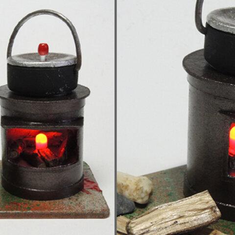 ミニチュアかまど (竈) L 光るLED ミニかまど 和風ジオラマ 手作り レトロ 昔の道具 昔の景色 焚火 田舎の庭 庭で炊飯 ハンドメイド