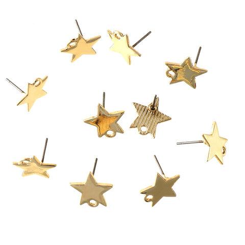 送料無料 ステンレス製ポスト ピアスパーツ スター 星型 小さめ ゴールド カン付き 10個 シンプルピアスパーツ アクセサリーパーツ ハンドメイドパーツ  AP1601