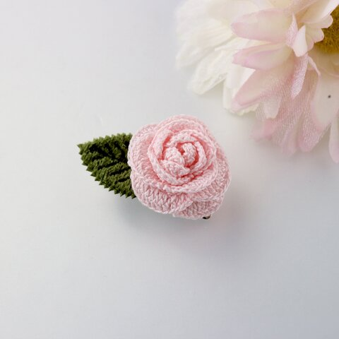 七色のお花*2wayブローチ*ローズ(ピンク)