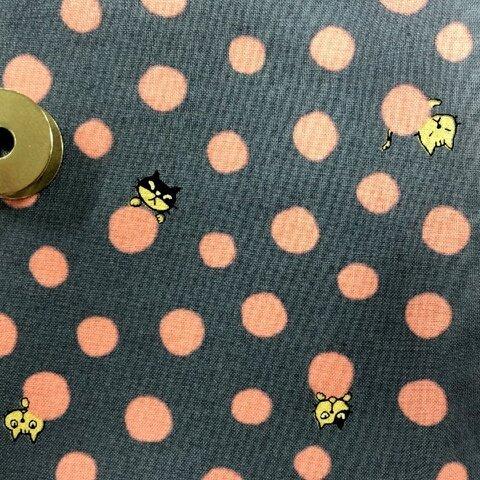【100×50】猫&水玉柄 生地(ブルー&ピンク)
