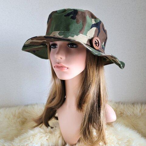 自分らしくアレンジ hat  ゆったり サイズ調節付き ワイヤー入りハット 迷彩 wood