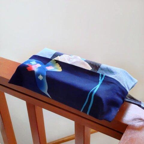 ボックスティッシュカバー【浴衣地】青い鳥柄