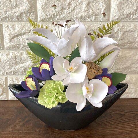 クレイの仏花(ユリと胡蝶蘭)
