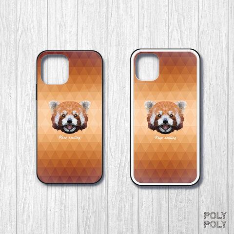 【強化ガラス】レッサーパンダ【幾何学模様オレンジ系】ポリゴン iPhoneケース