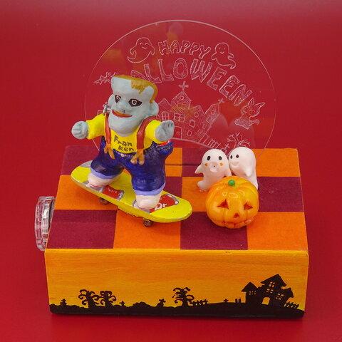 ハロウイン祭 色変わりキャンドル付き置き物 フランケン2