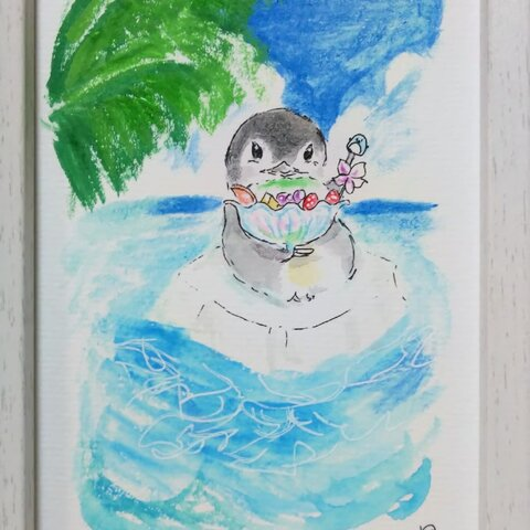 『 常夏!』(原画)額付き  ペンギン