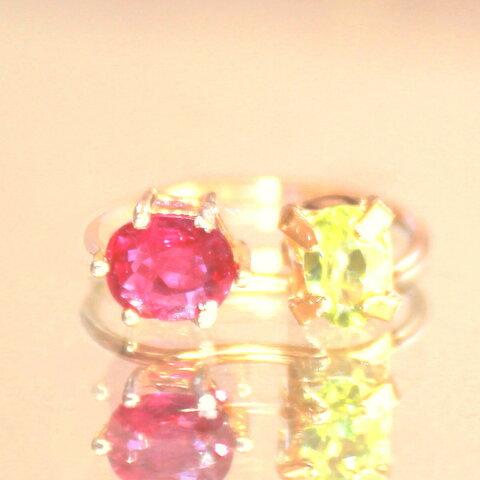 k18gp - kutibiru - Ruby & Grossular Garnet Ring