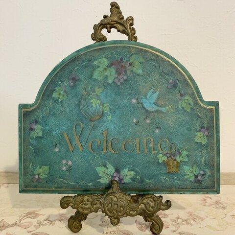 葡萄と青い鳥のウェルカムボード(ネーム入れも可能、お値段+200円)
