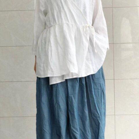 New【3カラー  】ネクタイ付きリネンブラウス〜 ブラウス  トップス ゆったり