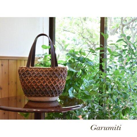【秋色🍁】ニットで暖か麻ひもバッグ