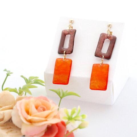 和紙のイヤリング/ピアス*長方形2連/茶色×橙