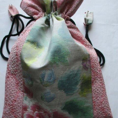5876 絞りと花柄の着物で作った巾着袋 #送料無料