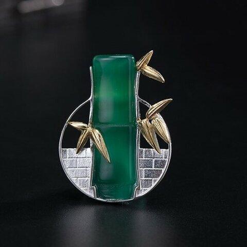 <受注制作>竹のブローチ シルバー グリーンカルセドニー 0221