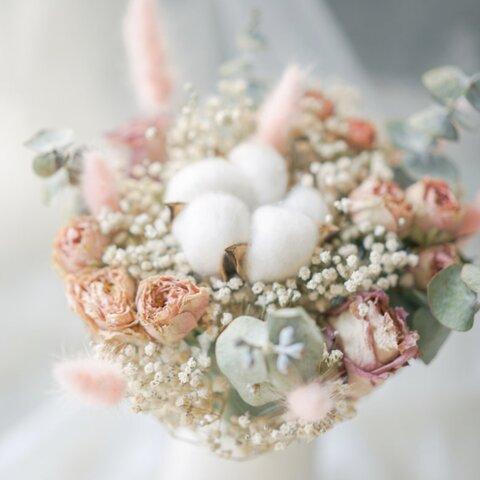 華やかなドライフラワースワッグ 25cm ピンク&ホワイト色 木綿 バラ カスミソウ