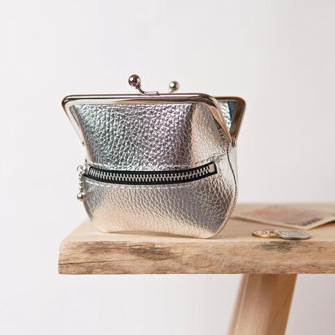 たくさん入る小さながま口財布 シルバー / コンパクトがま口財布 ミニ財布