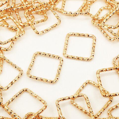 送料無料 デザイン カン 15mm ゴールド KC金 スクエア 100個 チャームパーツ 四角 フレームパーツ アクセサリーパーツ ハンドメイドパーツ AP1498