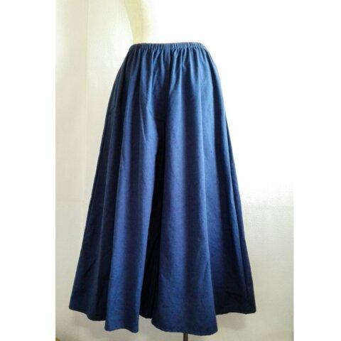 綿100%紬織 ガウチョパンツ ブルー