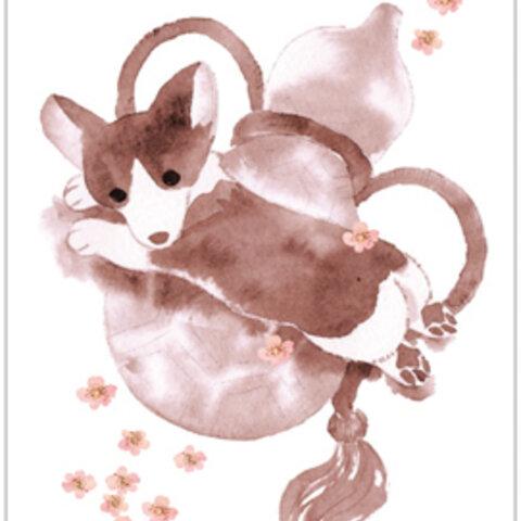 ポストカード「瓢箪と桜」