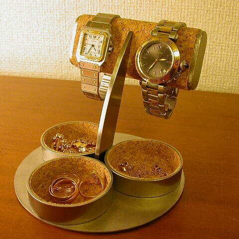プレゼントに! だ円パイプ2本掛け三つの丸い小物入れ付き腕時計スタンド ak-design