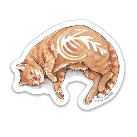「カフェラテ猫」ステッカー