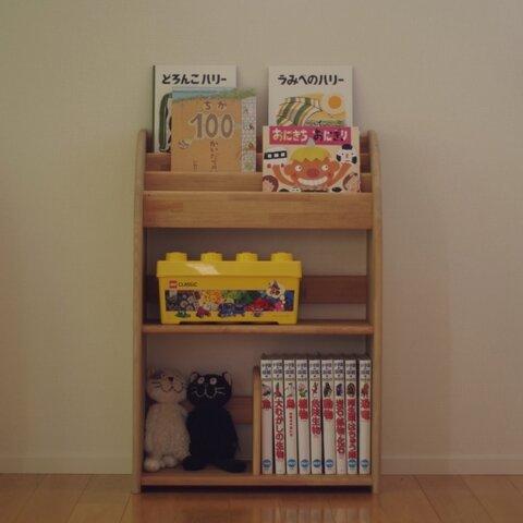 【アウトレット】木製の丸いデザインの絵本棚 60幅90高
