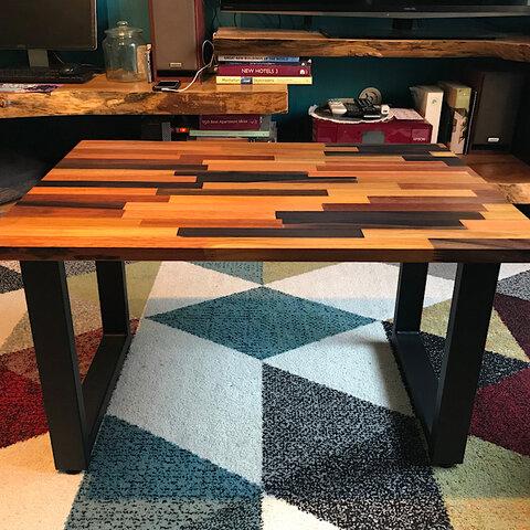 〓栄町工房〓 ミックス集成材ローテーブル アイアン脚 50×70×42 / 送料込み ご自身で脚取付け